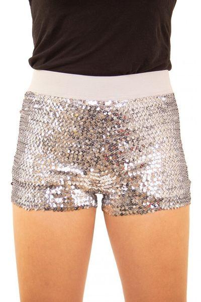 Glitter broekje showgirl zilver