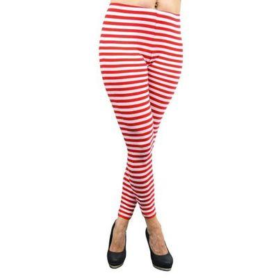 Gestreepte legging rood wit