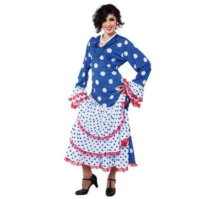 Spaanse jurk blauw