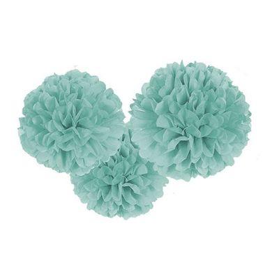 Papieren pompons zachtblauw