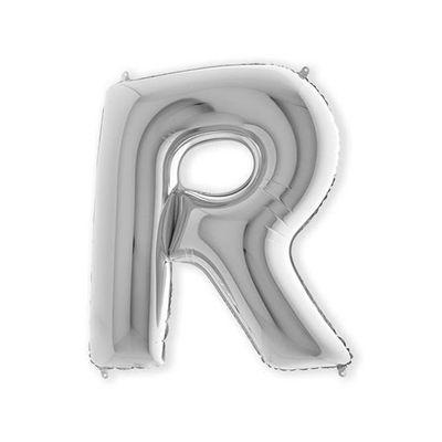Folieballon letter R zilver XL (100cm)