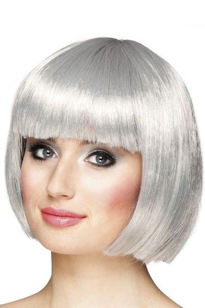 Pruik Bobline zilver/grijs kort model