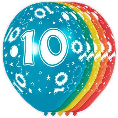 Foto van Leeftijd ballonnen 10 jaar 5 stuks