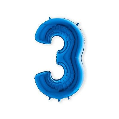 Folieballon cijfer 3 blauw XL (100cm)