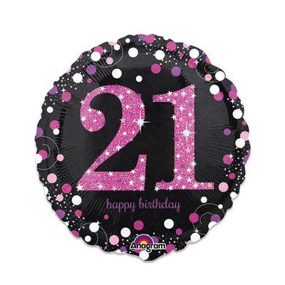 Folieballon 21 jaar roze