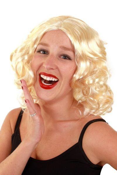 Pruik met krullen blond