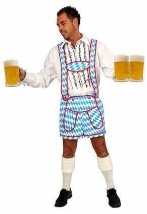 Oktoberfest jodelbroek blauw/wit heren