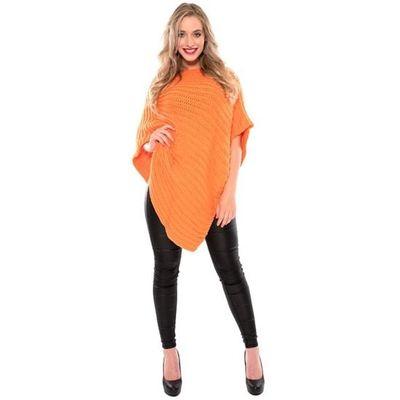 Gebreide poncho fluor oranje