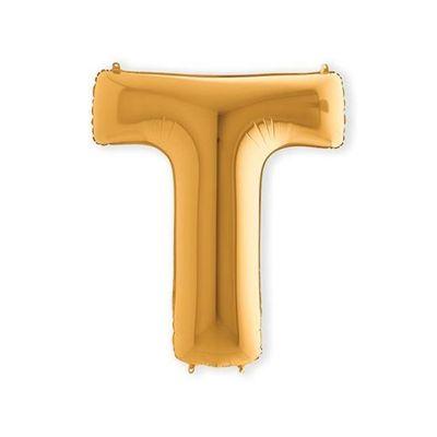 Folieballon letter T goud XL (100cm)