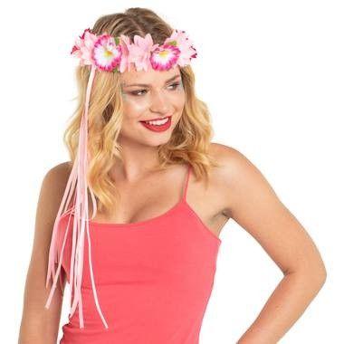 Bloemen haarband roze