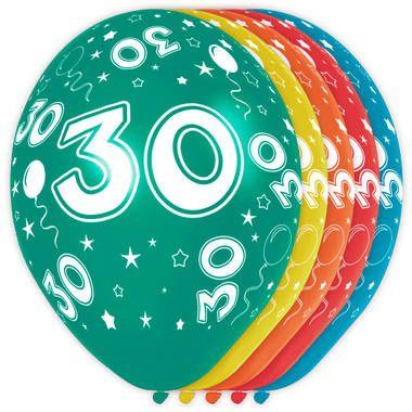 Foto van Leeftijd ballonnen 30 jaar 5 stuks