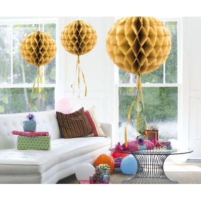 Foto van Honeycomb bal Goud 30cm