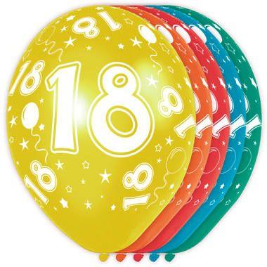 Foto van Leeftijd ballonnen 18 jaar 5 stuks