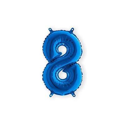 Folieballon cijfer 8 blauw klein (35cm)