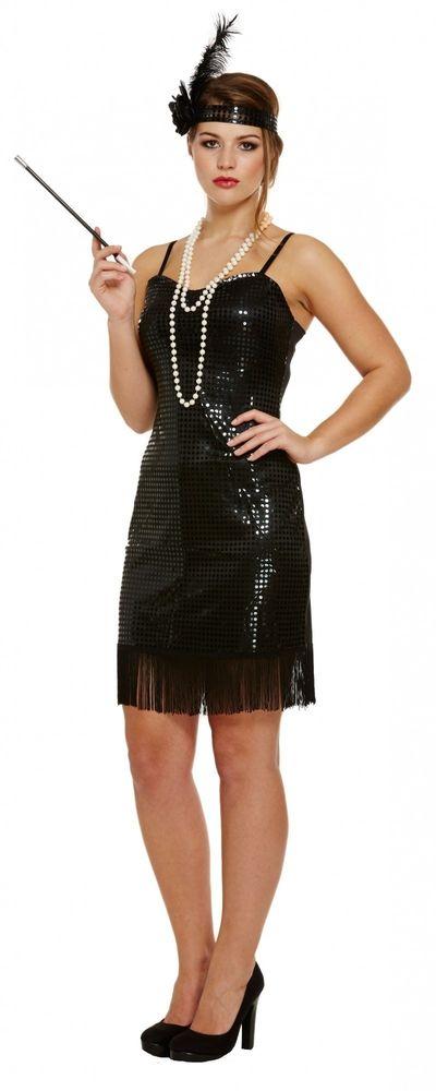 Jaren 20 jurkje met zwarte pailletten