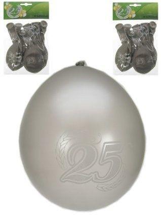 Jubileumballon 25 jaar metalic zilver per 8 (Ø 12 inch / 32 cm)