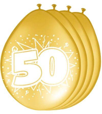 Ballonnen 50 jaar metallic goud (30cm) 8st
