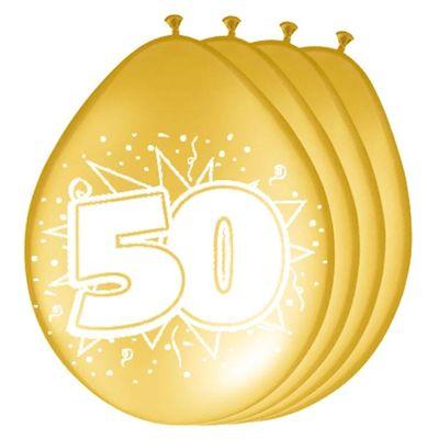 Foto van Ballonnen 50 jaar metallic goud (30cm) 8st