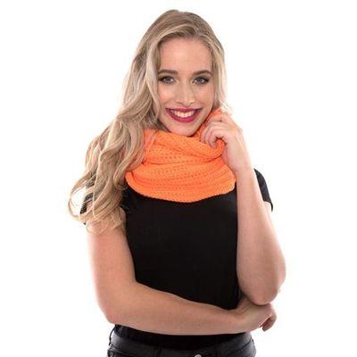 Gebreide sjaal fluor oranje