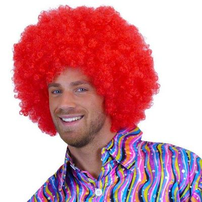 Afro pruik rood