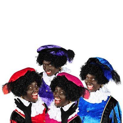 Zwarte piet baret velours met struisveer