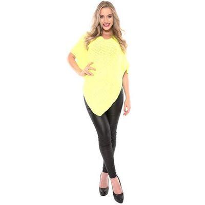 Gebreide poncho fluor geel
