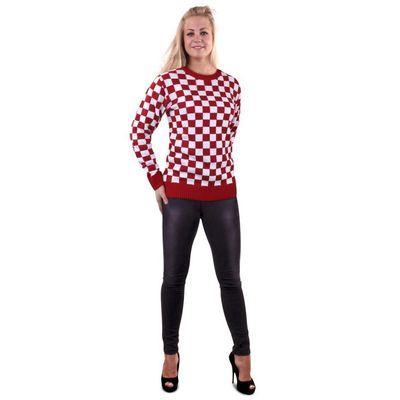 Gebreide trui rood/wit geblokt