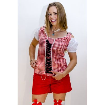 Foto van Tiroler blouse dames rood wit