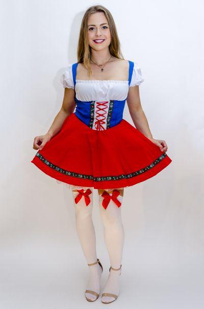 Dirndl jurk rood wit blauw