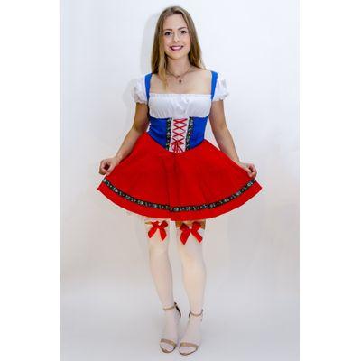 Foto van Dirndl jurk rood wit blauw