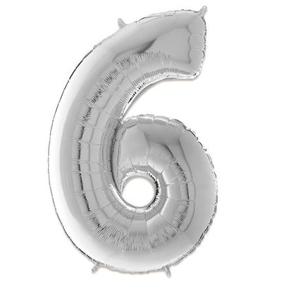 Foto van Folieballon cijfer 6 zilver (66cm)