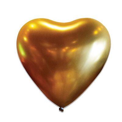 Foto van Hart ballon satin gold 50 stuks