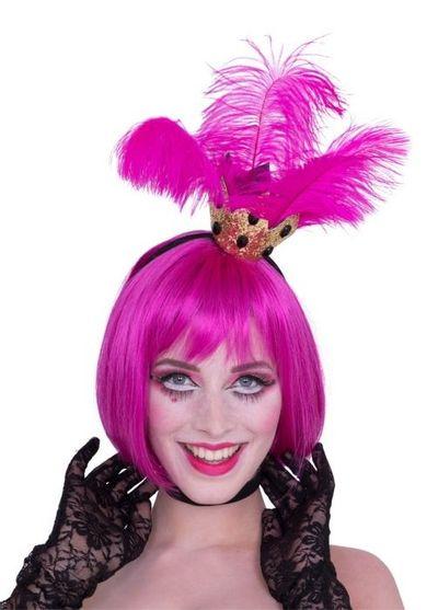 Tiara kroontje met roze veren