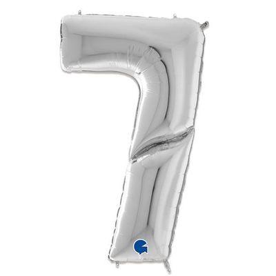 Folieballon cijfer 7 zilver XXL (163cm)