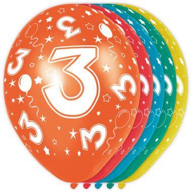 Foto van Leeftijd ballonnen 3 jaar 5 stuks
