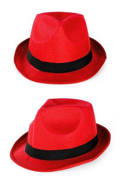 Rode hoed met zwarte band
