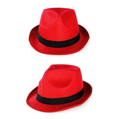 Foto van Rode hoed met zwarte band