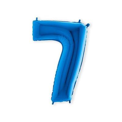 Folieballon cijfer 7 blauw XL (100cm)