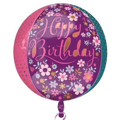 Ballon Happy Birthday Bloemen Folie