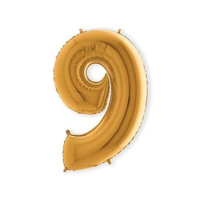 Foto van Folieballon cijfer 9 goud XL (100cm)