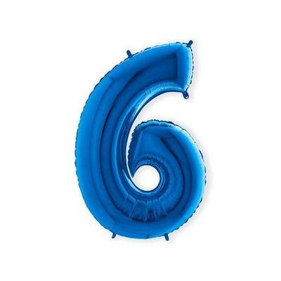 Foto van Folieballon cijfer 6 blauw XL (100cm)