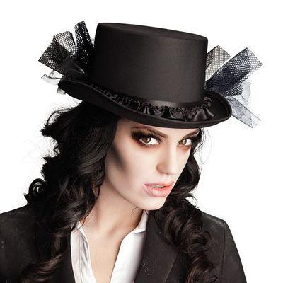 Zwarte hoge hoed met tule