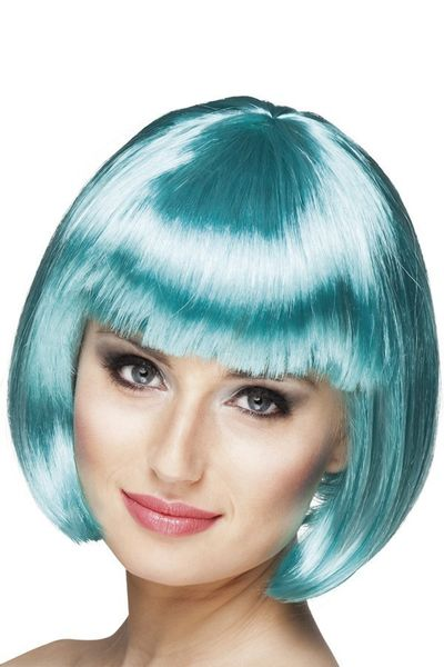 Pruik Bobline turquoise kort model