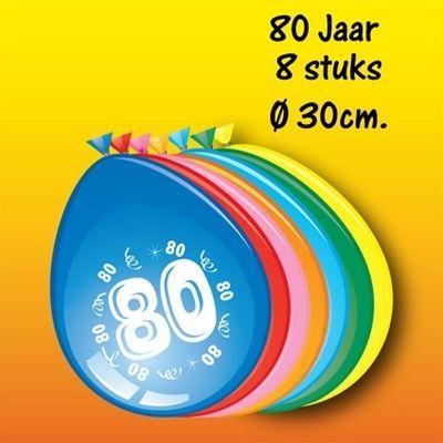 Ballonnen 80 jaar 8 stuks