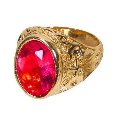 Sinterklaasring luxe met rode steen