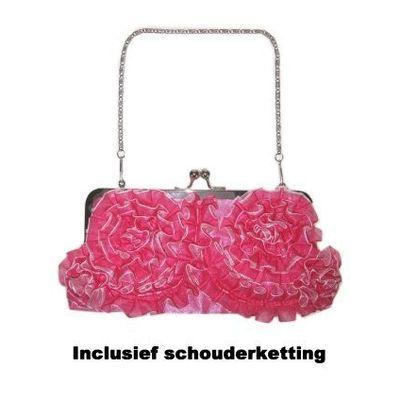 Handtas rouche roze