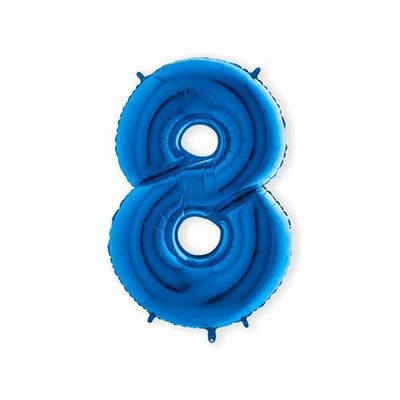 Folieballon cijfer 8 blauw XL (100cm)