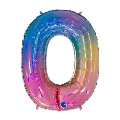 Foto van Folieballon cijfer 0 regenboog XL (100cm)