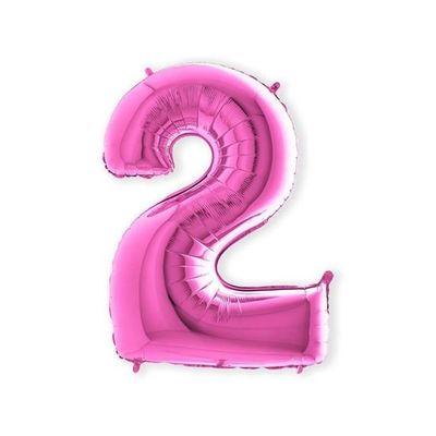 Folieballon cijfer 2 roze XL (100cm)