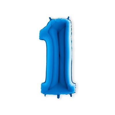 Folieballon cijfer 1 blauw XL (100cm)